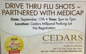 Cedars offers Drive Thru Flu Shots.